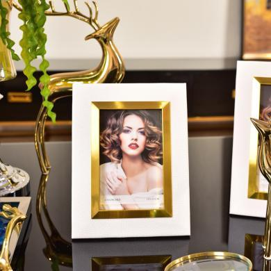 DEVY 歐式創意皮質相框掛墻擺臺7寸6寸現代畫框架婚紗照片框擺件
