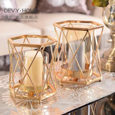 DEVY 歐式創意家居輕奢金屬玻璃燭臺擺件現代客廳餐廳軟裝飾品