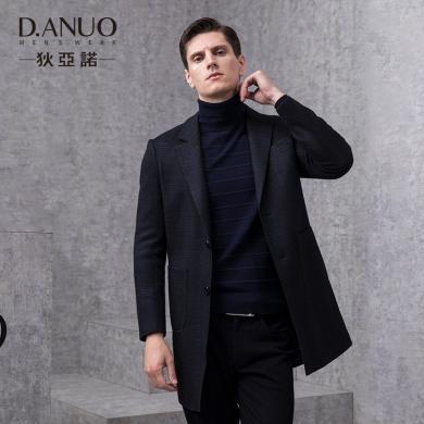 狄亞諾男裝羊毛呢子大衣英倫商務格紋中長款毛呢大衣秋冬新款  240856