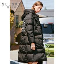 熙世界黑色羽绒服女中长款2018冬装新款时尚宽松加厚外套114LY015