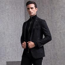 狄亚诺男士单西服羊毛商务休闲时尚格纹西装外套男青中年秋装新款 203811