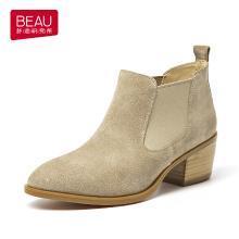 BEAU 新款秋冬粗跟及踝靴英伦风切尔西短靴女复古平底马丁靴女03346