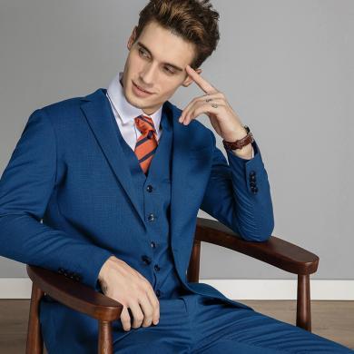 艾梵之家 秋季藍色西服套裝男 修身商務職業男士西裝休閑工作套裝EVXF214
