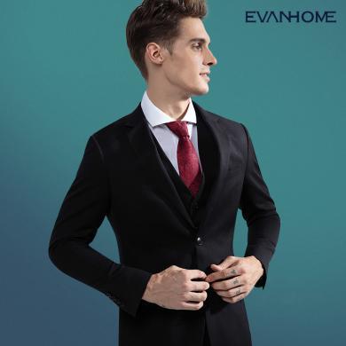 艾梵之家 黑色羊毛西裝男套裝修身新郎結婚伴郎參加婚禮男士西服裝EVXF233