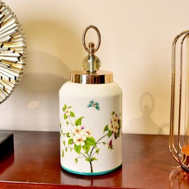 DEVY 歐式陶瓷花瓶仿真花藝套裝 家居裝飾品客廳儲物罐桌面擺設