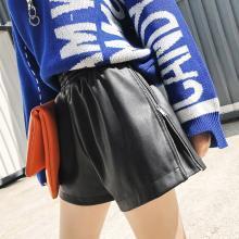 新品 七格格 PU皮短裤女秋季2018新款韩版宽松直筒显瘦黑色高腰阔腿裤子