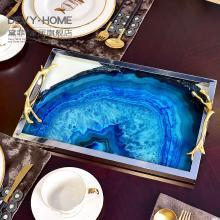 DEVY 歐式客廳藍色長方形托盤擺件 家居茶幾茶杯茶具收納軟裝飾品
