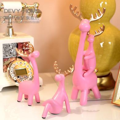 DEVY北歐式家居軟裝飾品擺件現代簡約客廳電視柜酒柜創意麋鹿擺設