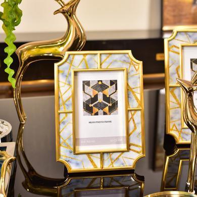 DEVY欧式轻奢家居客厅创意个性装饰品卧室床头6寸7寸摆台相框摆件