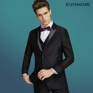 艾梵之家 秋季男士西服套裝修身型新郎結婚伴郎服裝男黑色提花禮服EVXF236