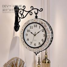 DEVY歐式創意雙面掛鐘表現代客廳靜音田園時鐘家居裝飾石英鐘掛表