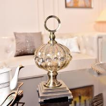 DEVY 欧式创意玻璃糖果罐收纳摆件客厅茶几创意干果盘储物罐饰品