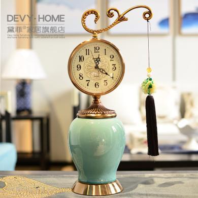 DEVY新中式創意陶瓷座鐘古典時鐘家居客廳書房鐘表軟裝飾品擺件