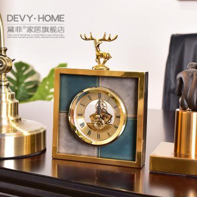 DEVY歐式家居客廳臺鐘座鐘裝飾品擺件美式臥室床頭靜音時鐘擺設