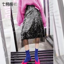 新品 七格格 亮片半身裙女新款韩版高腰a字裙显瘦中长款网纱裙