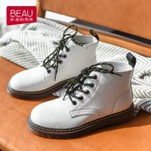 BEAU 机车马丁靴女新款秋冬短靴女圆头粗跟复古平底女靴子B03419