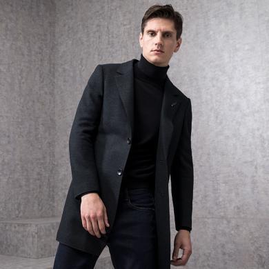 狄亞諾男士夾棉羊毛呢子大衣男修身中長款保暖外套秋冬裝新款 240852