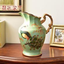 墨菲 欧式田园复古花瓶 美式乡村创意陶瓷客厅装饰玄关电视柜摆件