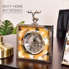 DEVY欧式样板房家居装饰品摆件创意鹿头时钟座钟台钟牛骨钟表摆设