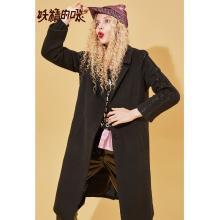 妖精的口袋Y毛呢外套女韓版中長款寬松上衣秋冬裝2018新款呢大衣R