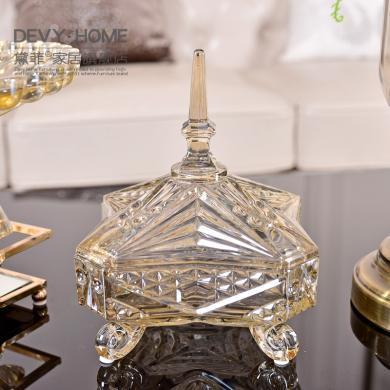 DEVY 歐式玻璃果盤糖果罐樣板房精裝擺件創意簡約軟裝飾品擺設