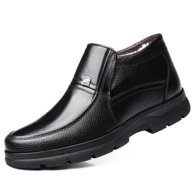 牧惠森 皮鞋男冬季真皮休閑高幫鞋男棉鞋中老年保暖加絨爸爸鞋8667