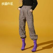 妖精的口袋Y港味復古chic褲子秋裝2018新款休閑長褲格子闊腿褲女Q