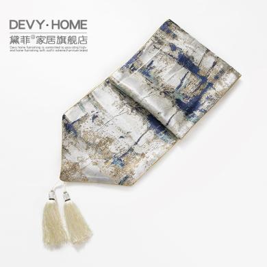 DEVY新中式創意餐桌布藝電視柜床旗茶幾桌旗布美式樣板間桌布桌墊