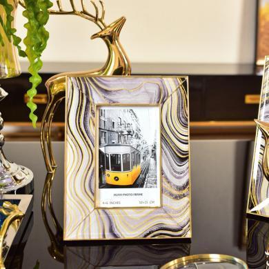 DEVY 歐式創意相框擺臺現代輕奢玻璃照片框組合6寸7寸裝飾擺件