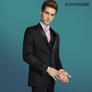 艾梵之家 秋季男士西服套装修身型新郎婚礼伴郎服装男黑色提花礼服EVXF238