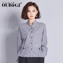 OUBOGJ 小格子衬衫女收腰长袖新款秋装韩版立领衬衣休闲女装潮18C10189