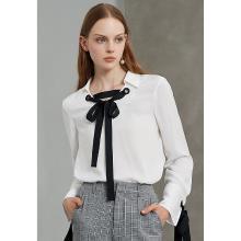 熙世界白色襯衫女2018秋裝新款撞色綁帶職業OL襯衣長袖上衣LC050