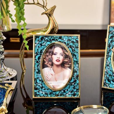 DEVY 欧式创意样板间婚房别墅装饰品摆件 金属桌面摆台相框6寸7寸