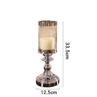 DEVY歐式輕奢裝飾品擺件 現代家居玻璃金屬燭臺創意客廳餐桌擺設