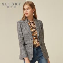 熙世界格子外套女短款2018秋装新款时尚单排扣西装领外套117LD063