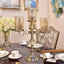 DEVY 歐式創意水晶玻璃燭臺美式餐桌蠟燭臺浪漫燭光晚餐裝飾品