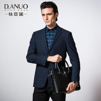 狄亞諾男士休閑單西 男純羊毛提花格紋西裝 兩粒扣西服外套中年男203611
