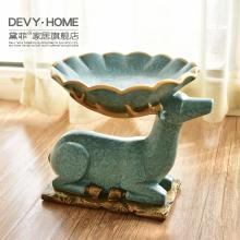 DEVY歐式麋鹿樹脂復古客廳茶幾實用擺設美式家居軟裝飾工藝品擺件