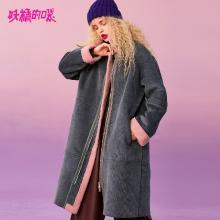 妖精的口袋Y时尚翻领大衣外套女冬装2018新款潮中长款过膝仿皮草R
