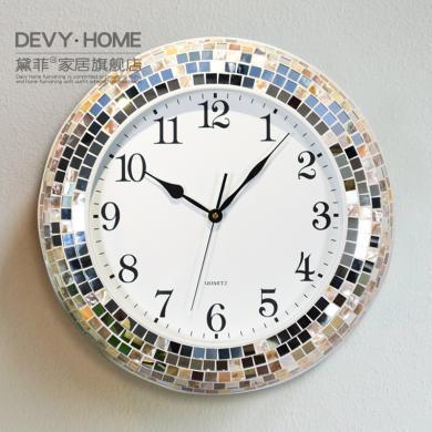 DEVY 現代簡約鐘表掛鐘時鐘 歐式客廳創意貝殼靜音藝術掛表石英鐘