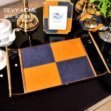 DEVY 歐式創意飾品收納方形金屬托盤 餐桌桌面置物盤化妝品整理