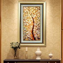 DEVY 欧式客厅玄关书房装饰画 美式家居样板间有框画壁画发财树