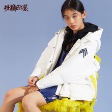 妖精的口袋Y保暖外套上衣冬装2018新款短款白鸭绒连帽羽绒服女R