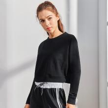 伊都奈卡秋季短款收腰显瘦高腰露脐装圆领运动韩范卫衣外套女