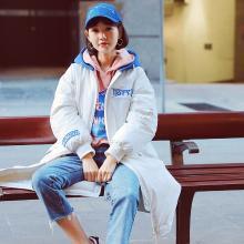 韩都衣舍2018冬装新款女韩版中长款过膝加厚棉服棉衣RW8201瑒0916
