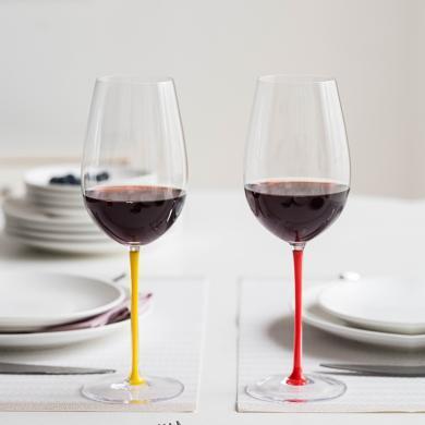 摩登主妇 波尔多红酒杯 黑杆红杆黄杆高脚杯家用葡萄酒水晶玻璃杯