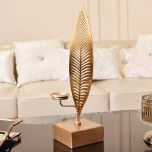 DEVY 欧式创意烛台摆件金属叶子客厅复古怀旧家居软装饰品摆设