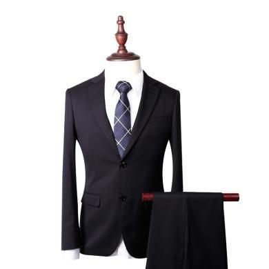 艾梵之家 黑色羊毛西装男套装修身新郎结婚伴郎参加婚礼男士西服装EVXF233