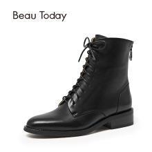 BT 马丁靴女小短靴女春秋英伦风单靴皮粗跟靴子A02202