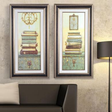 墨菲有框畫墻畫 兩聯書本裝飾畫 歐式復古客廳辦公室掛畫玄關壁畫